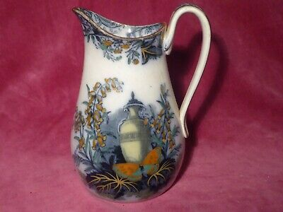 Early Victorian Jug Circa 1850. Antique Over-painted Transfer. Butterfly Flowers • 35£