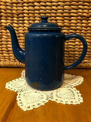 $9.99 • Buy Vintage ~ Antique ~ Blue Enamel 7  Teapot With Lid ~ Graniteware ~ Lovely!