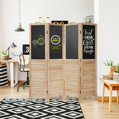 $129.75 • Buy 4-Panel Folding Privacy Room Divider Screen W/ Chalkboard Home Office Natural