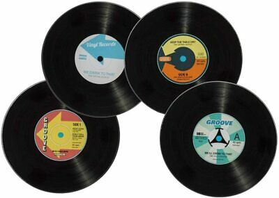 £5.99 • Buy Set 4 Retro Glass Record Player Square Coasters Novelty Gift Holder