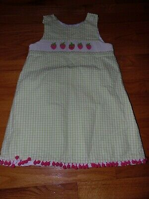 $9.99 • Buy Zuccini Girls Size 6 Smocked Plaid Dress Green & White With Strawberries CUTE!
