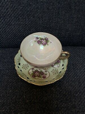 $3 • Buy Vintage Tea Cup And Saucer With Roses, Mint Green & Gold Trim