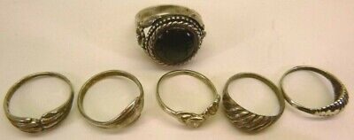 $ CDN64.38 • Buy Lot Of 6-Vintage Sterling Silver 925 Rings, Silver 925 Jewelry Rings