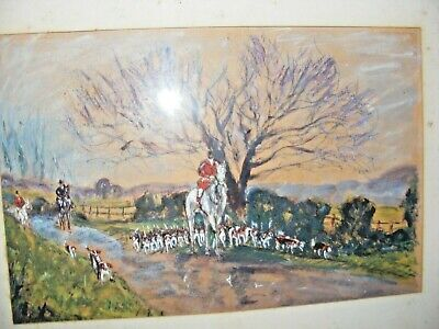 Vintage Oil Pastel Hunting Scene Painting Horse Riders And Dogs Well Executed • 34.99£