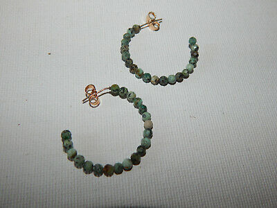 $ CDN29.18 • Buy Hoops M Earrings Anthropologie Green Multi Semi Precious Beads Post  $38