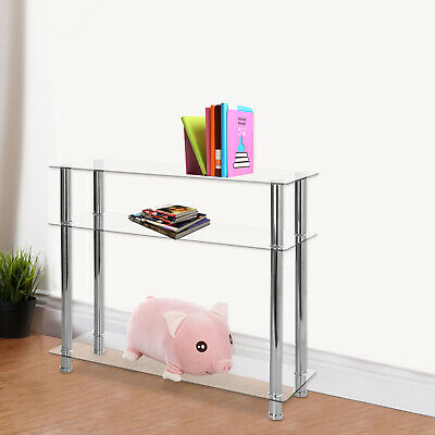 3 Tier Modern Hall Table Hallway Glass Console Table Clear Glass Chrome Legs UK • 47.89£