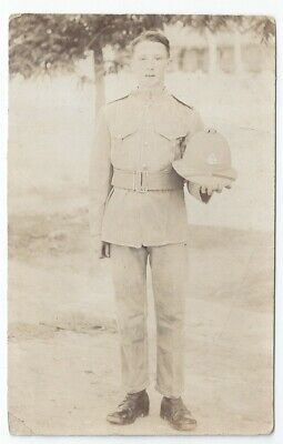 WW1 East Lancs Lancashire Regiment Soldier W Overseas Uniform Pith Helmet RP PC • 10£