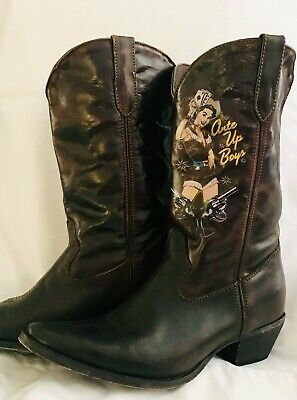$60 • Buy DURANGO COWGIRL CRUSH WOMEN'S PINUP BOOTS -  Ante Up Boys  - Women's Size 7.5