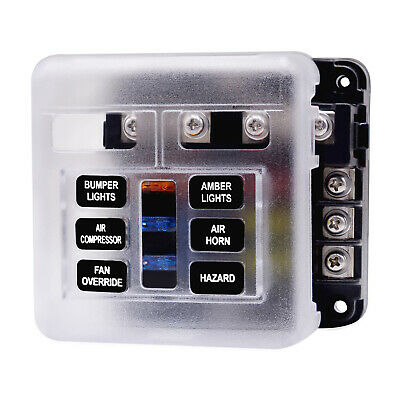AU19.21 • Buy 6 Way Blade Fuse Box Block Holder With LED Indicator For 12V 32V Auto Marine Van