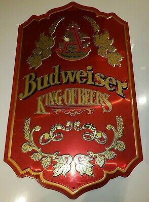 $ CDN79.08 • Buy Vintage Budweiser King Of Beers Embossed Red Tin Bar Wall Sign Beer