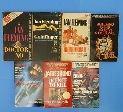 $39.99 • Buy James Bond 007 Book Lot Of 7 Movie Tie-in Goldfinger Dr No Thunderball License