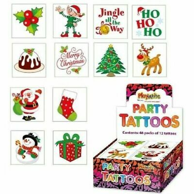 12 Christmas Tattoos - Loot Party Bag Fillers Kids Temporary • 1.29£