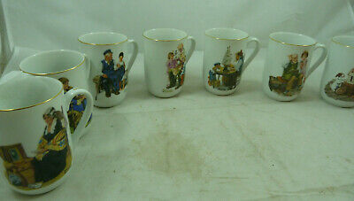 $ CDN64.86 • Buy Vintage Norman Rockwell Coffee Cup Mug Set 8 Museum Collection 1982 NEW