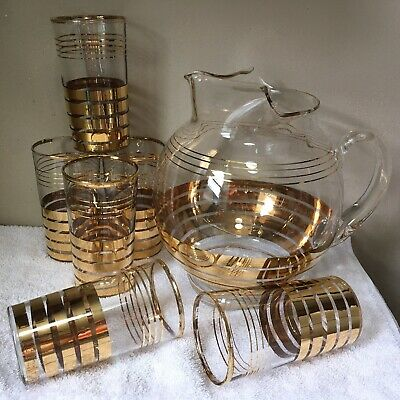$29.99 • Buy Clear Glass Round PITCHER 6 4 3/4  Tumblers Drinking GOLD STRIPES BANDS Ice Lip