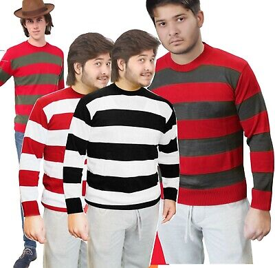 Fancy Dress Freddy Krueger Nightmare Sweater CONVICT Horror Jumper Halloween NEW • 11.99£