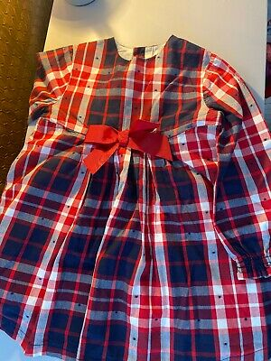 Tutto Piccolo Checked Navy Red Girls Dress Age 4 • 5£