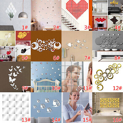 £4.91 • Buy Glass Mirror Tiles Wall Stickers Square Self Adhesive Decor Stick On Art Home UK
