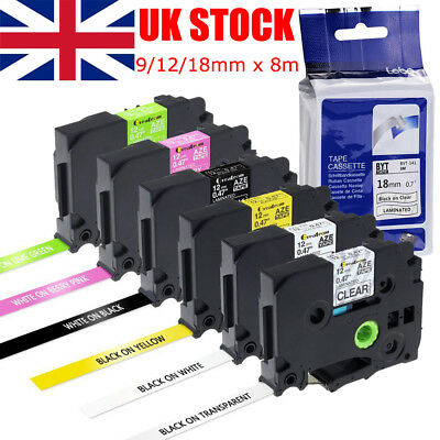 Compatible Brother TZ Tze Label Tape Printer P-Touch Laminated 18mm/12mm/9mm X8m • 4.74£