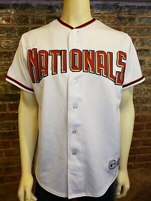 $24.99 • Buy Majestic Washington Nationals SS Button Up Jersey White Red Gold Mens M
