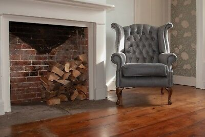 £545 • Buy Chesterfield Queen Anne High Back Wing Chair In Vintage Grey Leather.