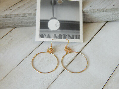 $ CDN22.63 • Buy Earrings Hoops S/m Anthropologie Flower Top Gold Dangle Circle Hook Nwt $32