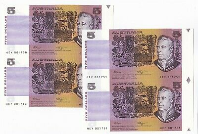 AU81.09 • Buy $5 Fraser/Higgins Two Consecutive Prefix Uncut Pairs Low Numbers Unc