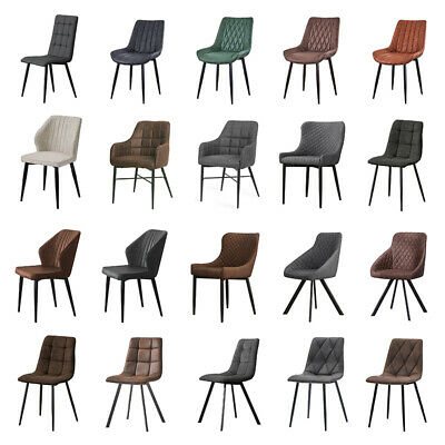 £89.99 • Buy Set Of 2 Faux Leather Suede Dining Chairs Metal Legs Reception Chair Grey&Brown