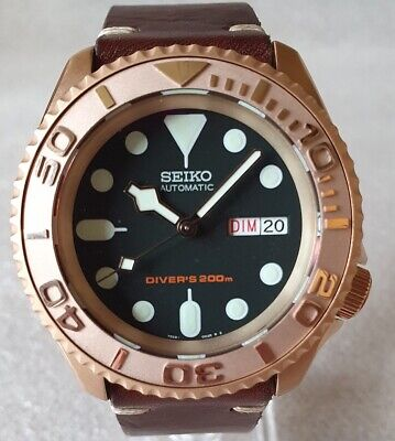 $ CDN697.79 • Buy SEIKO SKX007 Mod  The Rose Gold  NH36A Leather Strap New Condition