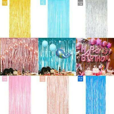 $5.92 • Buy 2m Foil Fringe Tinsel Shimmer Curtain Door Wedding Birthday Party Decorations
