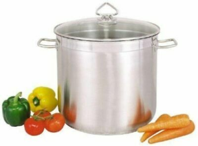 £45.99 • Buy Large Deep Stainless Steel Cooking Stock Pot Casserole Glass Lid -CATERING/Glass