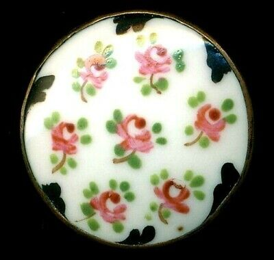 $30 • Buy Antique Button…Pink Roses….Hand Painted Porcelain In  Metal