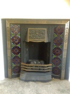Antique / Victorian Style Cast Iron Tiled Fireplace • 30£