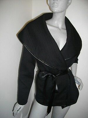 New * Brave Soul * Black Quilted Large Collar Wrap Jacket Siz M 10 12 14 Rrp £55 • 30£
