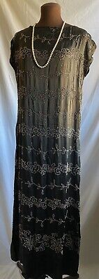 $26 • Buy Antique 1920s Flapper Coral Glass Beaded Evening Dress