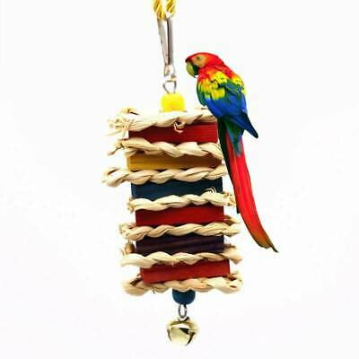 Wooden Parrot Toy Twist String Safety Chewing Bite Bells Stick Hanging Toy SI • 2.86£