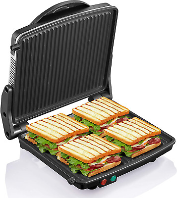 Panini Grill Press Commercial Electric Grilled Sandwich Toaster Maker Griddle • 52.04£