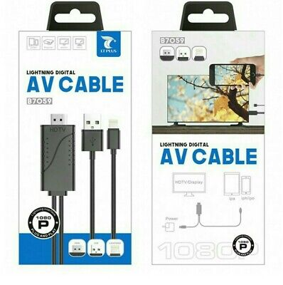 Apple IPhone To Hdmi Cable Lightning Connection To Tv Av Cable Hdmi Connection • 19.99£