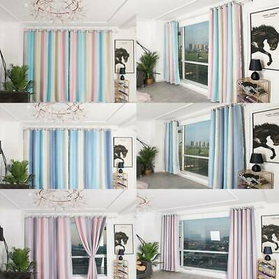 Bedroom Gradient Striped Curtain Full Blackout Window Drapes Home Decor SI • 15.41£