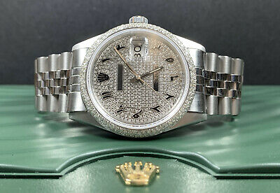 $ CDN7335.08 • Buy Rolex Datejust 36mm Men's Watch Stainless Steel Men's 3ct Genuine Diamonds 16200