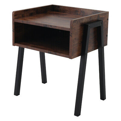 Industrial Bedside Table Rustic Wood Stand Metal Legs Side Table Storage Cabinet • 34.95£