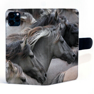 $ CDN19.02 • Buy Beautiful Grey Horse Galloping Across Magnetic Clasp Leather Phone Case Cover