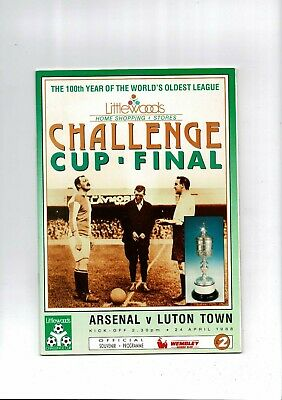 1988 Arsenal V Luton Town League Cup Final Football Programme • 4.50£