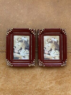Beautiful Pair Miniature Red & Gold Photo Picture Frame Rococo Baroque Style • 8.99£