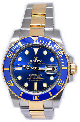$ CDN18202.56 • Buy Rolex Submariner Date 18k Gold & Steel Ceramic Blue Watch 2016 Box/Papers 116613
