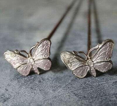 Antique PAIR Edwardian SILVER Pink Enamel Butterfly Bug Long Hat Pin -Q44 • 50£