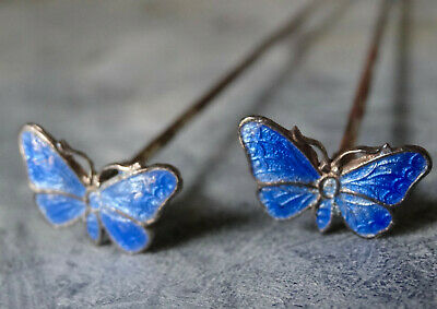 Antique PAIR Edwardian SILVER Blue Enamel Butterfly Bug Long Hat Pin -R172 • 60£