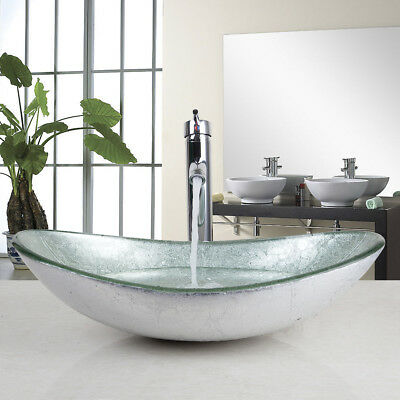 £119 • Buy UK Bathroom Silver Tempered Glass Basin Oval Bowl & Mixer Chrome Taps Deck Mount