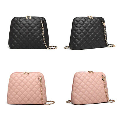Women Chain Faux Leather Handbag Ladies Quilted Cross Body Bag  • 8.99£