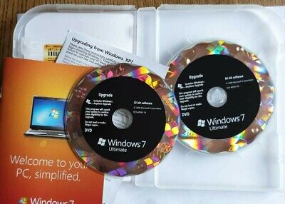 Microsoft Windows 7 Ultimate UPGRADE 32/64-bit DVD GLC-00183 SEALED VAT Inc UK • 85.67£