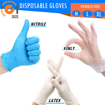 AU19.99 • Buy 100Pcs Nitrile / Vinly / Latex Disposable Gloves Powder Free General Food Premiu